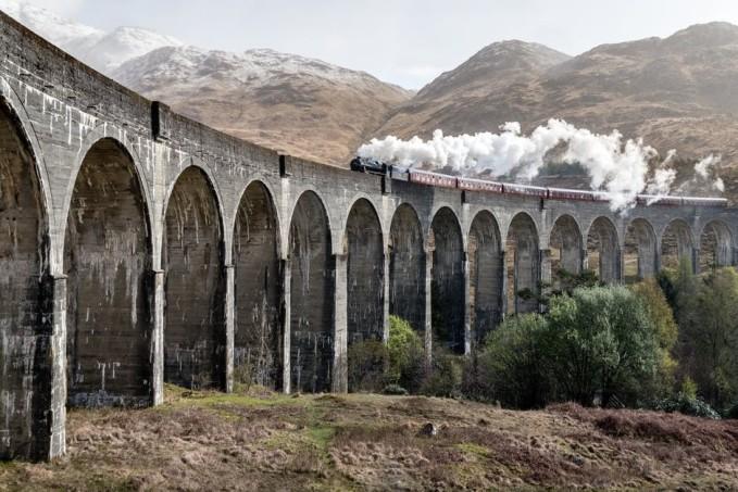 Train over bridge
