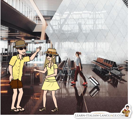 Tourists at airport cartoon