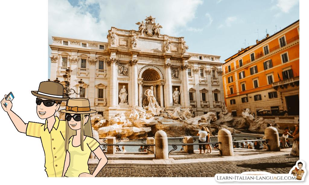 Tourists taking pictures at Fontana di Trevi cartoon