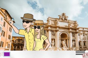 Tourists at Fontana di Trevi cartoon