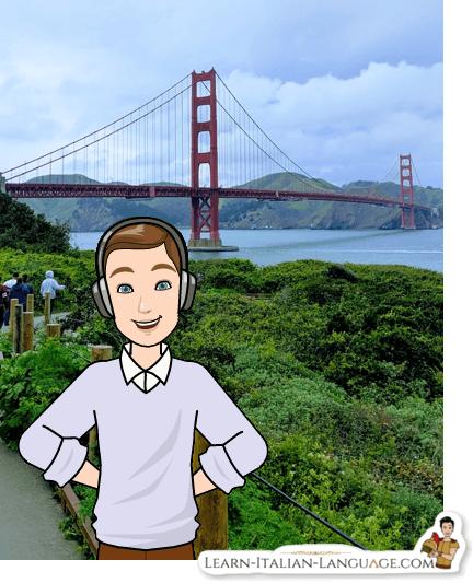 Golden Gate bridge San Francisco man with headphones cartoon