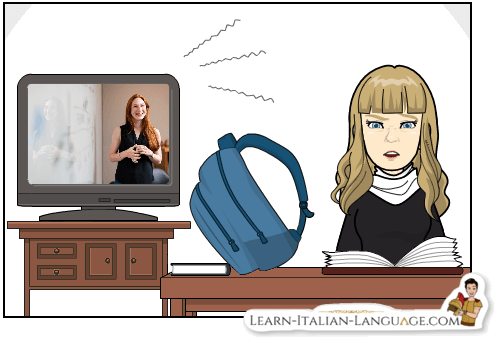 Young_woman_studying_with_noisy_TV_in the_background