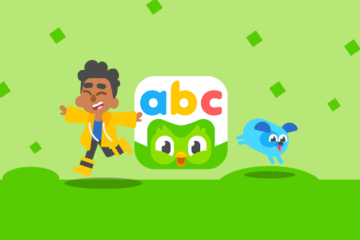 Duolingo ABC boy with dog