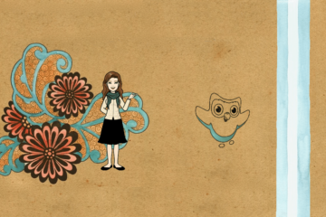 Duolingo Girl Flowers acuarela